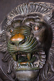 Bronze lion head in the door of the Parthenon at Centennial Park in Nashville, Tennessee